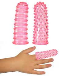 Návleky na prst se stimulačními výstupky (předehra, orgasmus)